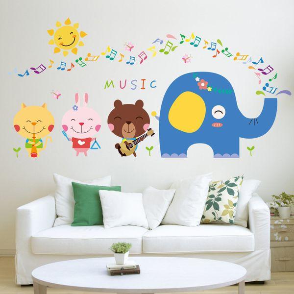 Nette Tiermusikanmerkungs-Cartoonwandaufkleber blaue Elefantbärnkaninchen-Katzensonne scherzt Raumkindergartenklassenzimmer-Dekorabziehbilder