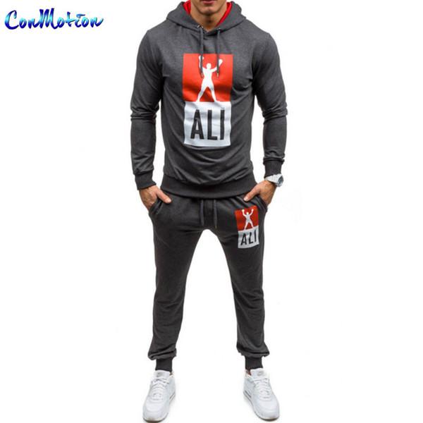 Весна 2017 мода мужская спортивная одежда Али спортивные костюмы досуг с капюшоном толстовка + брюки