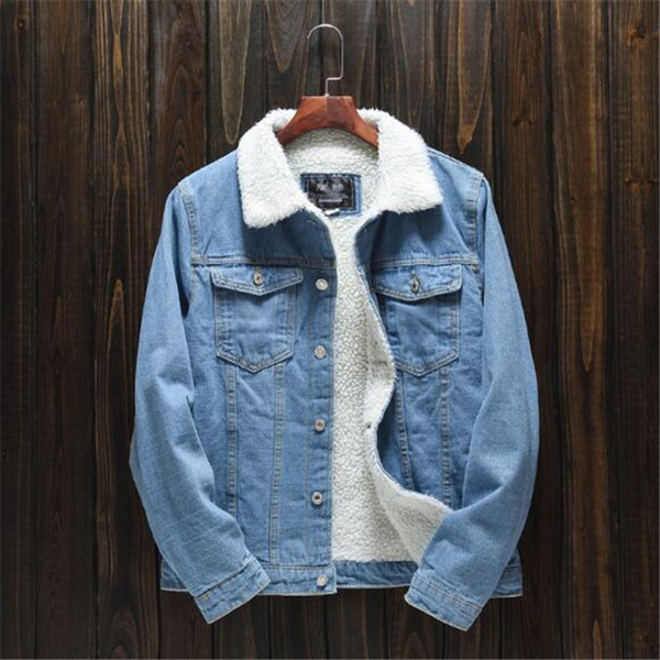 2018 the latest men's winter light coloured lamb jeans denim jacket Korean version of the body plus velvet jacket