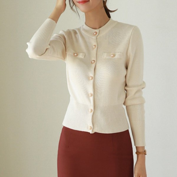 Korea 2018 Women O-Neck Autumn Knitted Cardigans Sweater Long Sleeve Ladies Elegant single-breasted pullover Femme
