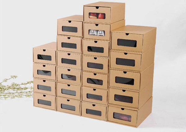 DIY Kraft paper shoes storage box with transparent window Environmentally Folding drawer type finishing box shoe organizer