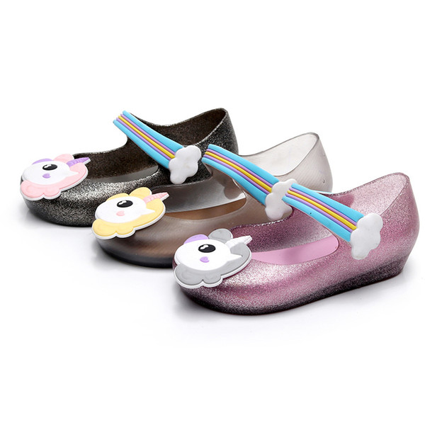 f597263e1 2018 Kids mini sed jelly sandals for baby unicorn children girls princess  shoes cute cartoon transparent bling soft beach shoes 010166