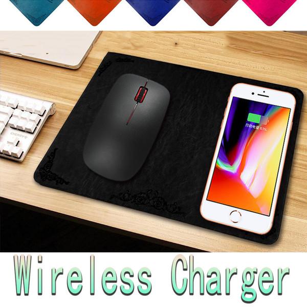 Almohadilla de ratón del cargador inalámbrico Qi Almohadilla de ratón del cargador del teléfono móvil de cuero Materail de lujo para Iphone X 8 Plus Samsung S9 Plus Smartphone