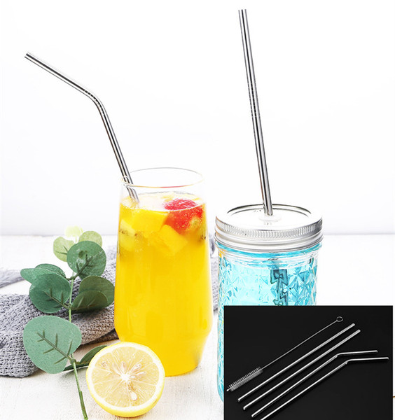 best selling Novel Reusable Stainless Steel Straw Eco-Friendly Straight Bend Metal Drinking Straws Party Bar Kitchenware Accessories 8.5 inch 215 MM