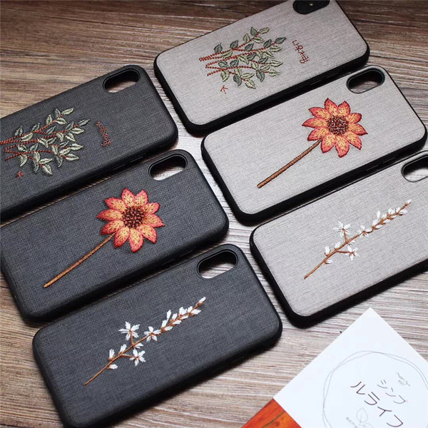 Shell PhoneX876 Embroidery Flowers Mobile Shell Case Art Vintage Cloth protection cover tide female personality Boutique Flowers 181