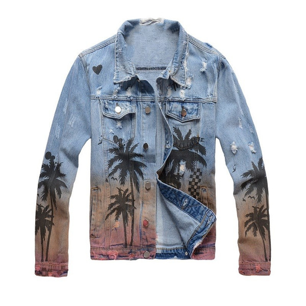 New France Style Mens Tree Painting Destressed Special Washing Moto Biker Blue Denim Coconut trees landscape Jacket jeans #409