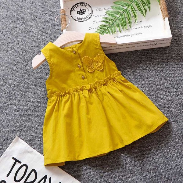 2018 baby girls dress clothing summer butterfly print new toddler girls dress infant party birthday clothes beach frock