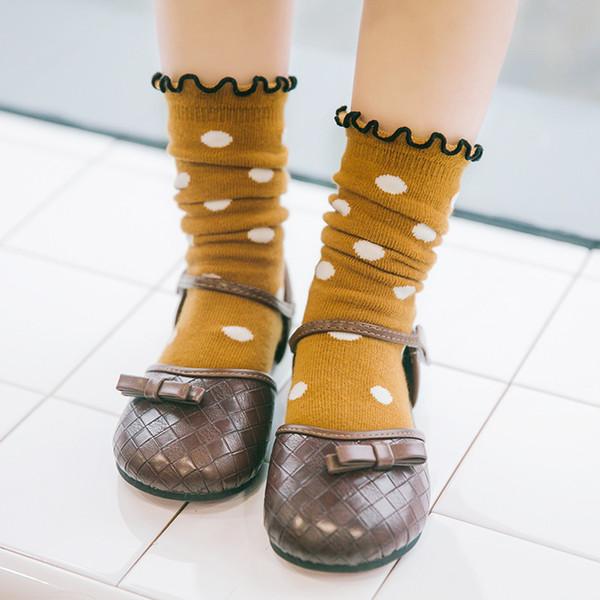 Neue Frühling und Herbst Streifen Polka Dot Muster Kinder Haufen Haufen Socken Crimpen Baumwolle 1-8 Jahre alt Baby Mädchen Socken