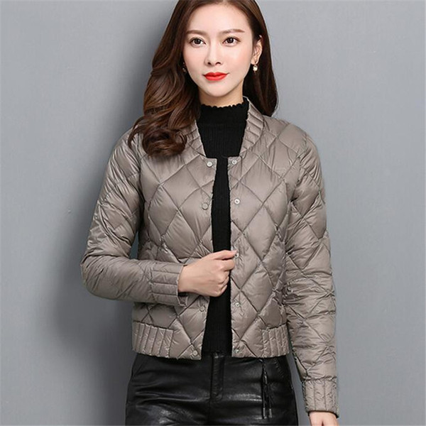 d7cf465ad 2018 Autumn Winter Women Ultra Light Down Coat Warm White Duck Down  Lightweight Parkas Outwear Female Thin Slim Short Jacket Top A757 From ...