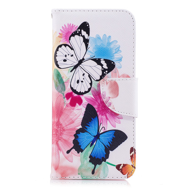 Two Butterfly Phone Case Stand PU Leather Cover with Wallet Card Slot Money Holder 165 Models for Option