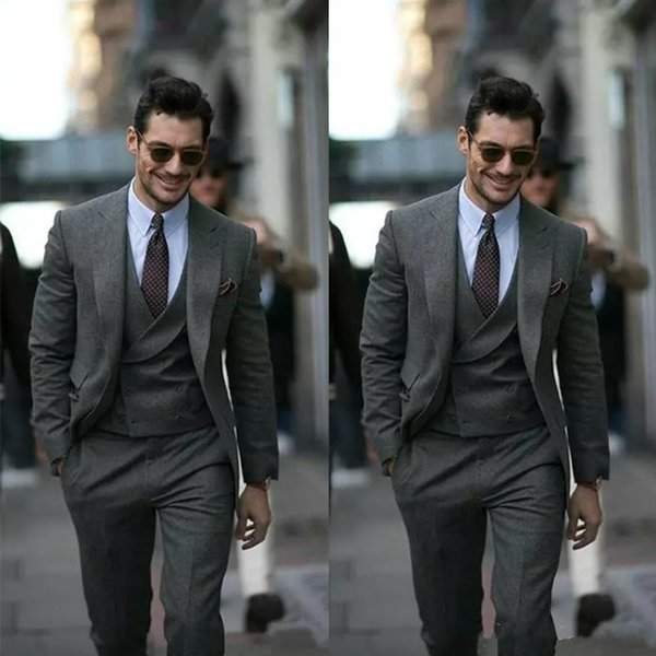 Grey Custom Made Men Suit Groom Tuxedos Groomsmen Formal Suits Business Men Wear Best Suit (Jacket+Pants+Vest)