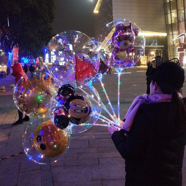 Balloon Led 3D Cartoon BOBO nuit allumer des ballons Pour la fête de mariage de Noël Transparent ours Canard enfants Ballon Clignotant Décoration