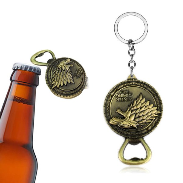 Game Of Throne keychain Bulk Lots Song of Ice And Fire Keychains Bottle Opener Home Decor Kitchen Accessories Party Supplies GGA244