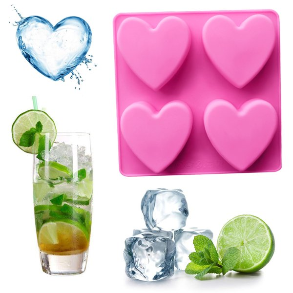 Ice Cake Decorating 4 Holes Heart Shape Bread Mould Silicone Mold Fondant Ice Cake Chocolate Stencils Kitchen Pastry