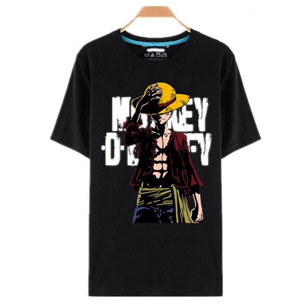 Une Pièce T-shirts Luffy Chapeau De Paille Japonais Anime T-shirts O-Noir Cou T-shirt Pour Hommes Anime Conception One Piece T-Shirt