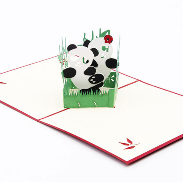 Hot Sale 3D Pop Up Card Panda Symbol Peace Friendship Childrens Day Happy Birthday Greeting Cards