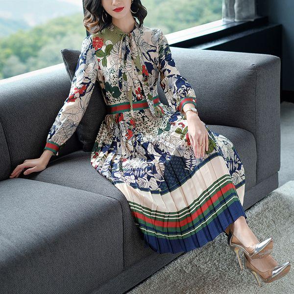Slim taille haute imprimé coloré à manches longues en mousseline de soie plissé longueur robe de veau Printemps été 2018 femmes EleStyle