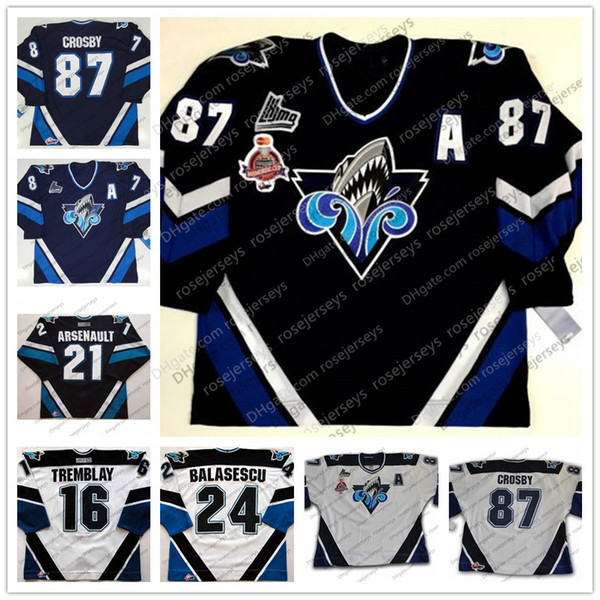 Custom Rimouski Oceanic #87 Sidney Crosby 2005 Memorial Cup Vintage Hockey Stitched Any Number Name Navy Blue White Retro Jerseys S-4XL