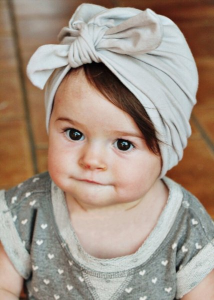 8pcs 1-6 year Baby hat Soft bowknot candy color Baby Girls Caps Cotton Beanie Infant Spring Hat MZ32