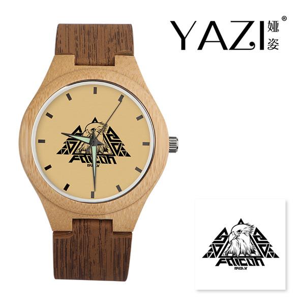 Yazi DIY Holz Uhr Adler Lucky Logo Quarzuhr Natürliche Bambus Holz Fall Armbanduhren Holz Streifen Band Geschenk Für Freund