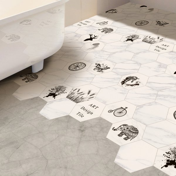 Nordic Style Stickers 10pcs Elk Printed Spa Bathroom and Kitchen Eco-friendly PVC Wall Stickers Waterproof for Home Decoration