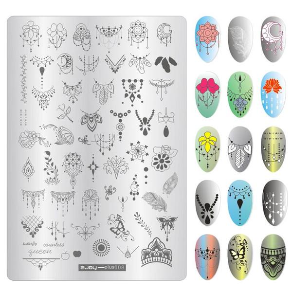 9.5 * 14 cm Nail Art Stamping Placas Mar Dophin Tartaruga Polvo Colar de Penas Borboleta Manicure Selo Polonês Stencil Novo Design