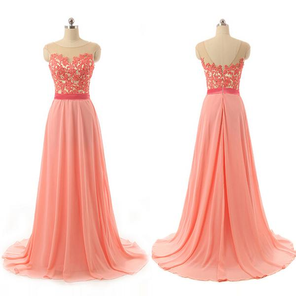 Elegant Coral Lace Bridesmaid dresses Cheap Country Style Sheer Neck V Backless Chiffon Empire Applique Evening Party Gowns For Formal Girls