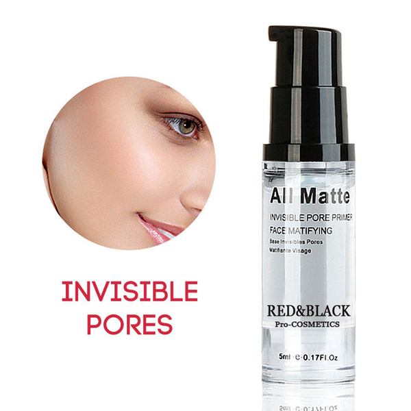 Red black face natural makeup ba e invi ible pore primer ba e facial matifiante kin oil control co metic 5ml