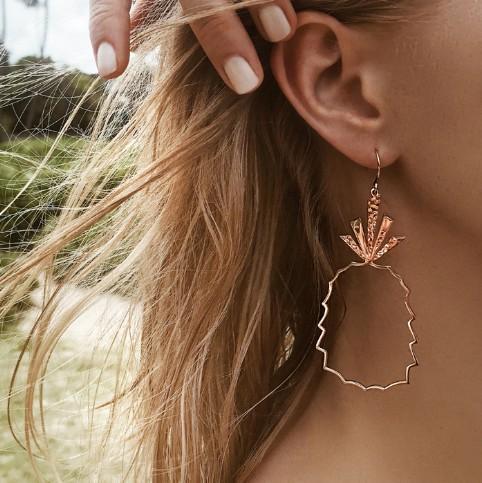 fashion pineapple womans stud earrings geometric hollow out earrings dangle earrings