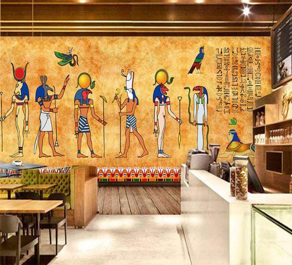 Compre Custom 3d Photo Wallpaper Vintage Egyptian Murals Bar Restaurante De Fondo Home Decorative Wall Painting Mural Wallpaper Art A 181 Del