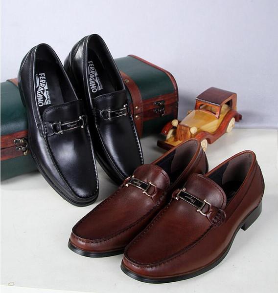 2018 Estilo Francia Marca Mocasines Para Hombre de Cuero Genuino Pisos Casuales Hombres Mocasines Zapatos Transpirable Zapatos Hombre Negro Slip on Shoes Tamaño Grande