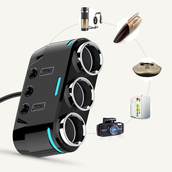 3 Way allume-cigare Splitter adaptateur double USB Chargeur allume-cigare 12 / 24V