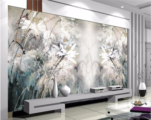 modern wall painting background photography Lotus oil painting abstract lines hotel badroom wall wallpaper mural for living room