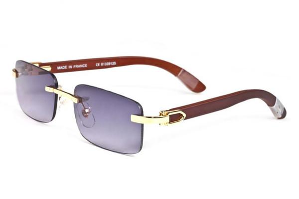 france vintage marque lunettes de soleil designer cadre bois sans monture corne de buffle lunettes pour hommes wemen violet rouge lentille nouvelles lunettes viennent avec boîte