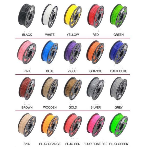 20 colori 3D filamento stampante ABS / PLA 1.75mm 5M materiali di consumo di plastica in gomma penna 3d