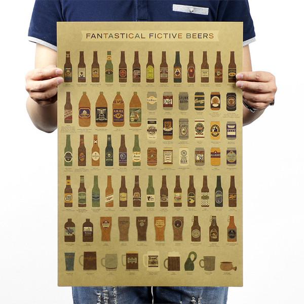 Home Decor Pittura Calligrafia Retro per Bar Case Bar Ristorante Carta Vintage Poster Birra Birra divertente Poster Retro Carta Kraft