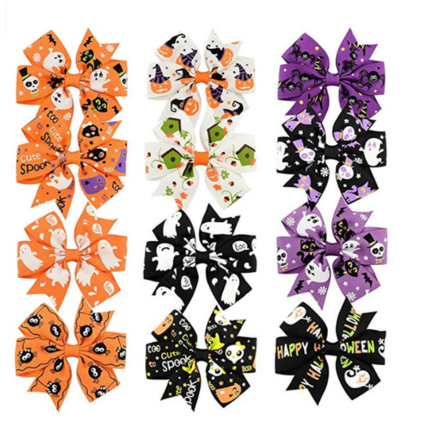 3 inch Baby Halloween Grosgrain Ribbon Bows WITH Clip Girls Kids Ghost Pumpkin Baby Girl Pinwheel Hair Clips Hair Pin Accessories