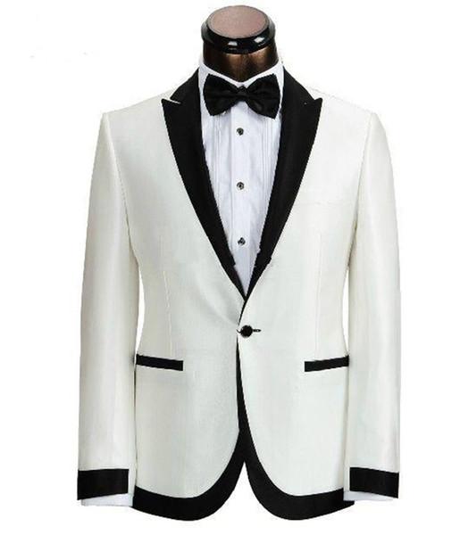 Yeni Custom Made Fildişi Siyah Yaka Damat Smokin Adam Düğün Balo Resmi Damat Suit (Ceket + Pantolon + Papyon) 38
