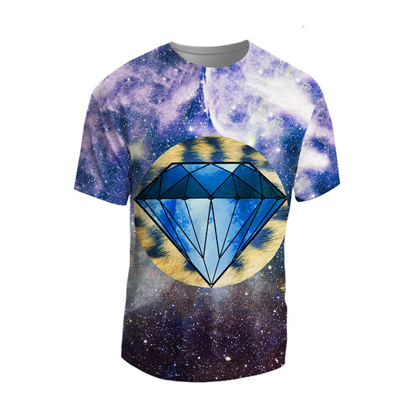 Fashion Space Galaxy T-shirt Men/Women 3d Tshirt Print Diamonds T Shirt Summer Tops Tees Cheap And High Quality Plus Dropship