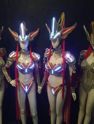 Led Luminous Sexy Vestido de Noite Passarela Show de Roupas Carnaval Victoria Salão de Baile Traje de Desempenho Cosplay Roupas