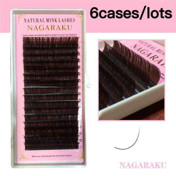 b3e0e742bc9 NAGARAKU 6 Trays Set,16rows/Case,Brown Color Eyelash Extension,Mink ...