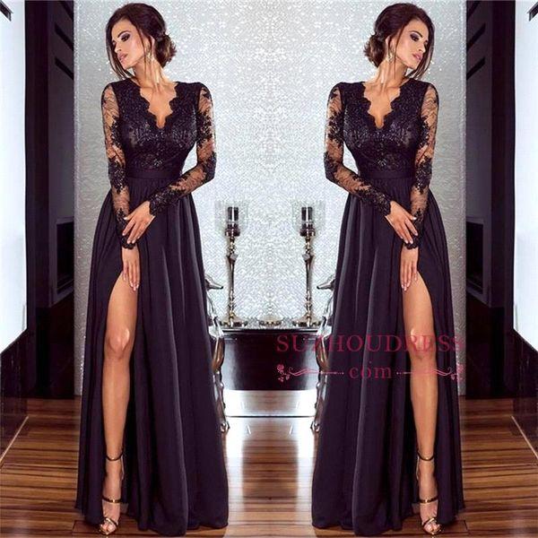 Sexy Black Prom Dresses Side Split Lace Deep V Neck Longo Ilusão Sleeves Simples Backless Pavimento Comprimento Formal Evening Gowns Mãe Vestido