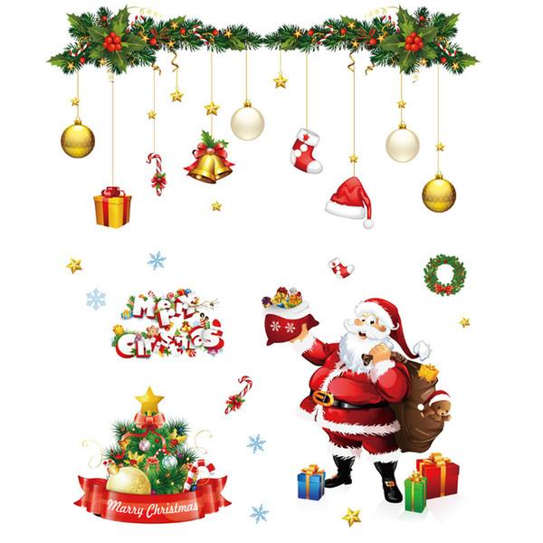 Christmas Wall Sticker Decoration Concezione artistica del fumetto Finestra statica Poster Cellophan Snowflake Paper Drawing Santa Snowman