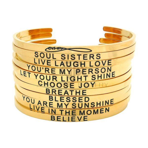 "Gold Engraved Positive Inspirational Sayings Stainless Steel Adjustable ""C"" Cuff Bracelet Gift Stackable Bangle for Women"