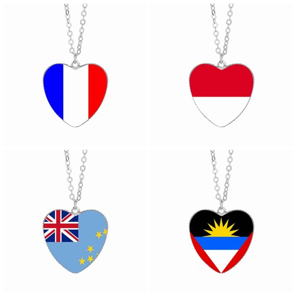 Bandera de Francia Collares pendientes 25mm Corazón de cristal Cabochon Mónaco El Salvador Samoa España Grecia Tuvalu Banderas Festival Mujeres Joyería al por mayor