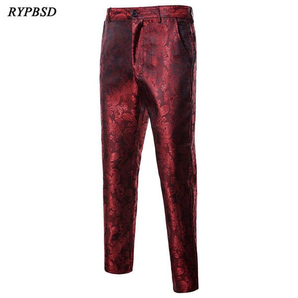 Autumn Winter Style Retro Print Flower Pants Design Cool Fashion Performance Clothing Slim Fit Dress Suit Trousers Men