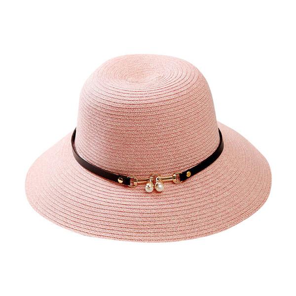 Chapeau de paille soleil plat femmes filles été plage chapeaux Panama casquette de protection solaire ALS88