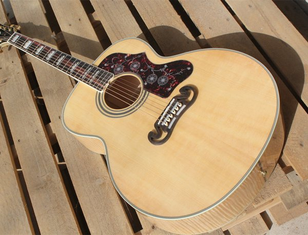 2018 new + factory + KSG custom electric acoustic guitar chinese made jumbo 43 inches acoustic guitar solid top flame maple body acoustic