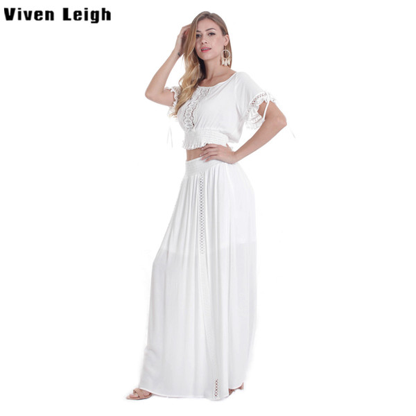 Viven Leigh Boho Women Set Sexy Crop Tops Long Skirt EleTwo Pieces Set Short Sleeve Elastic T Shirt 2 Piece Ladies Clothing