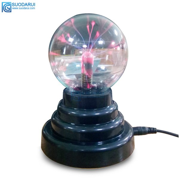 3 pulgadas USB Plasma Bola Esfera Luz Magia Cristal Lámpara Eléctrica electricidad estática Táctil Sensible ion negativo Luz mágica